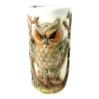 Vintage Ceramic Owl Floor Vase or Umbrella Stand
