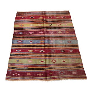 Vintage Turkish Kilim Rug - 4′10″ × 5′11″
