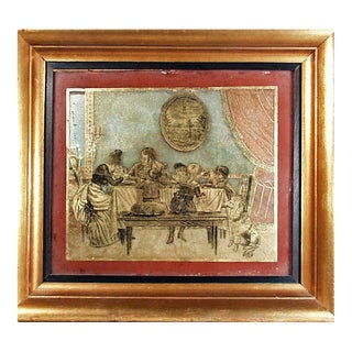 Eglomise Painting of a Family at Their Dinner Table, Signed Fihser, Sculp, Circa 1830-50.