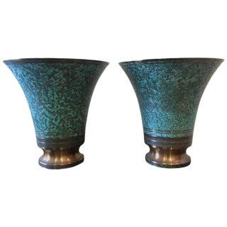 Carl Sorensen Verdigris Art Deco Signed Bronze Vases - A Pair