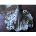 Image of Cream Iron and Brass Slag Glass Lamp