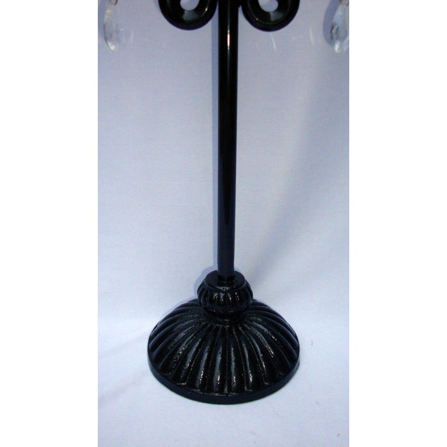 Large Gothic Deco Black Metal Crystal Candelabra - Image 8 of 11