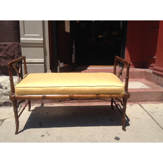 Vintage Faux Bamboo Chippendale Bench - Image 2 of 6