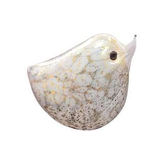 Handblown White Glass Bird with Gold Flecks