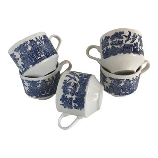 Blue & White English Chinoiserie Cups - Set of 5