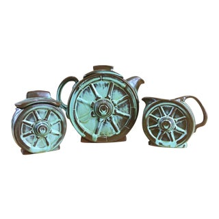 Frankoma Prairie Green Wagon Wheel Coffee Serving Set