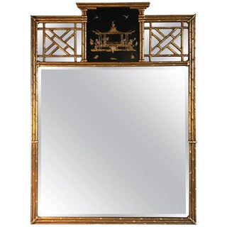 Chinoiserie Style Gilt & Ebony Decorated Beveled Wall Mirror