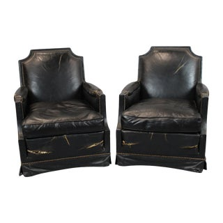 French Mid-Century Black Leather Club Chairs - A Pair
