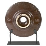 Image of Antique 1920s Georgia Pottery Butter Churn Lid On Stand