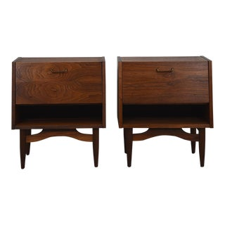 Pair, Mid Century Modern Walnut Nightstands / End Tables with Drop Down Front