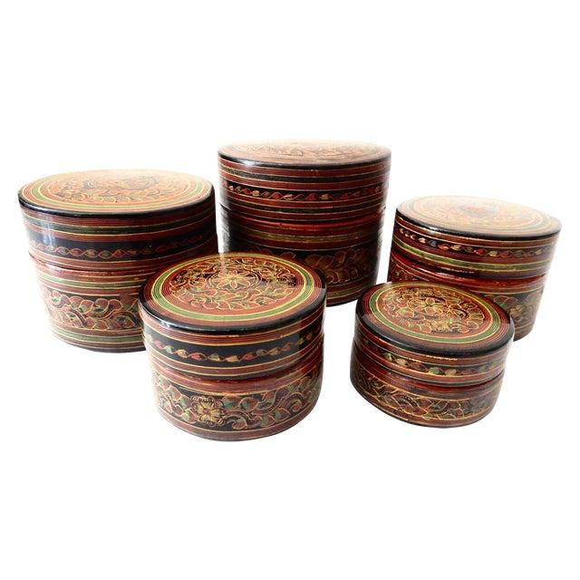 Burmese Lacquerware Betel Nut Boxes - Set of 6 - Image 1 of 8