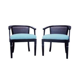 Hollywood Regency Caned Barrel Chairs - A Pair
