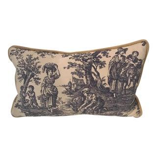 Toile Lumbar Pillow Cover