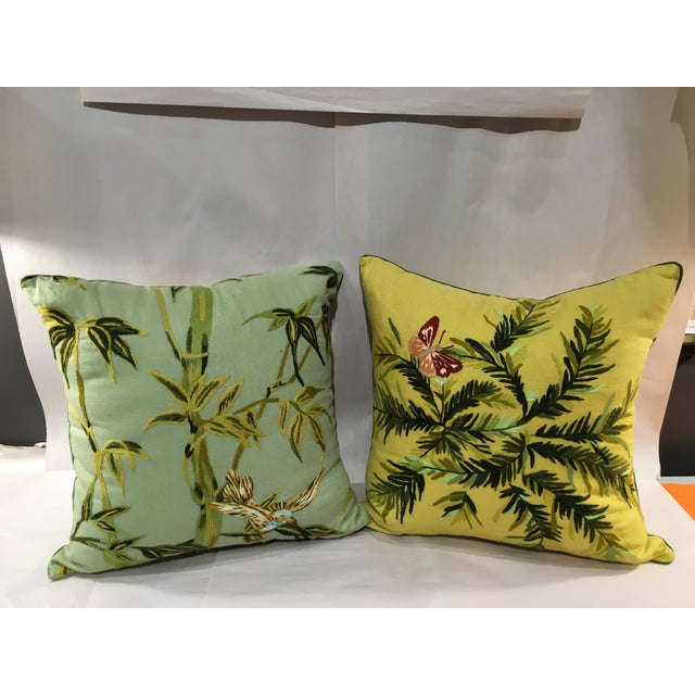 Linen Embroidered Pillows - A Pair - Image 2 of 5