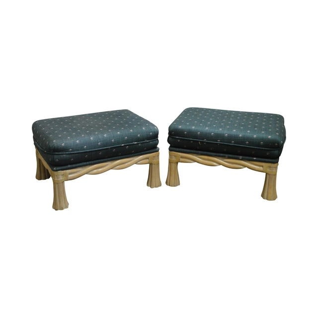 Lane Venture Pair of Twisted Rattan Ottomans - Image 11 of 11