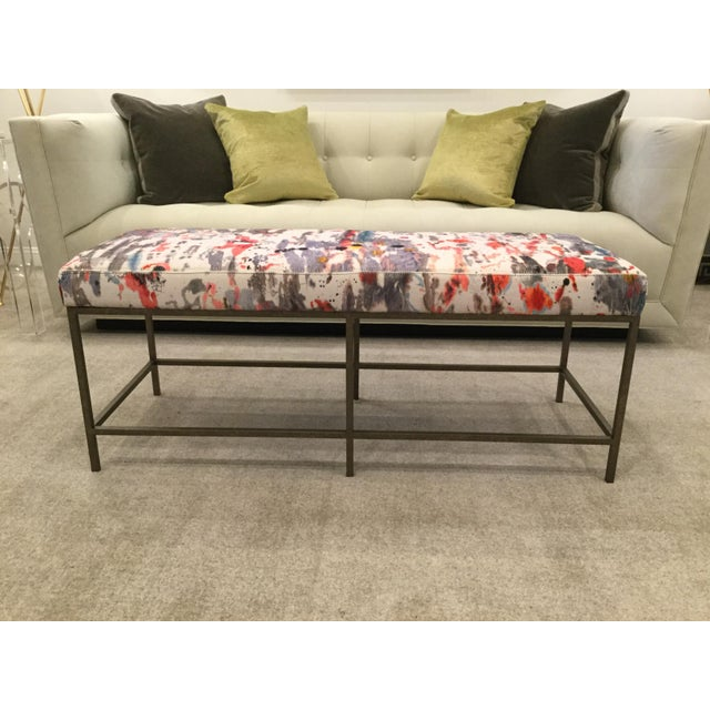 Custom Upholstered Bench in Holly Hunt Modern Fabric With Metal Frame - Image 4 of 5