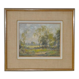 1970s Vintage Country Landscape Figural Painting by Wayne Morrell
