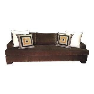 Crate & Barrel Brown Sofa & Throw Pillows
