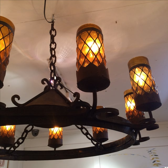Spanish Revival Wrought Iron Chandelier - Image 5 of 7