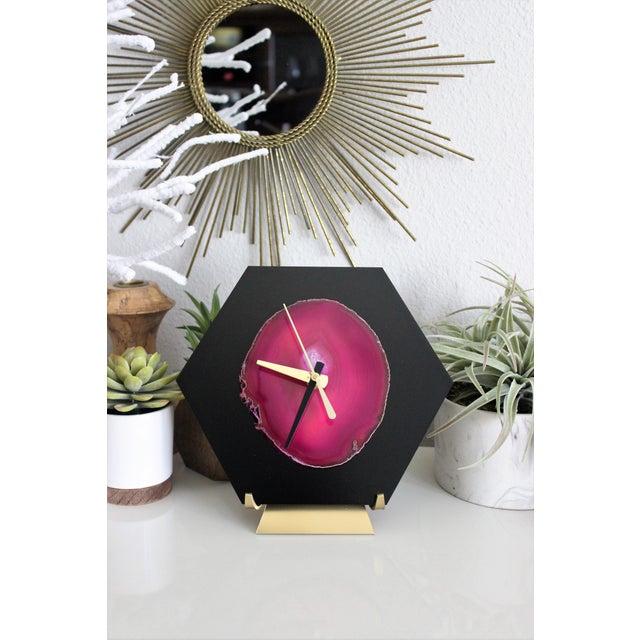 Modern Pink/Black SoLo Agate Hex Desk Clock - Image 5 of 8