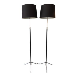 Leather & Chrome Adjustable Floor Lamps - A Pair