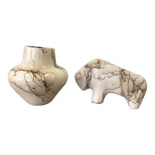 Ceramic Vase & Buffalo by Vail
