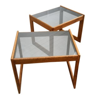 Mid Century Side Tables Smoked Glass & Walnut, a pair
