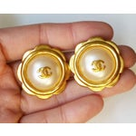 Image of Chanel CC Faux Pearl Gold Rim Camellia Earrings