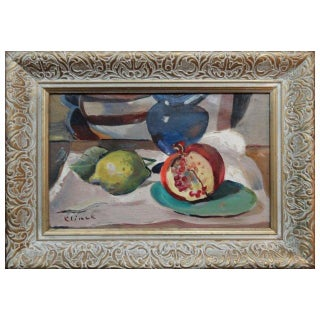 Mid-Century Pomegranite & Lime Oil Painting