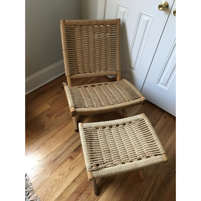 Hans Wegner Style Rope Lounge Chair & Ottoman - A Pair - Image 4 of 9