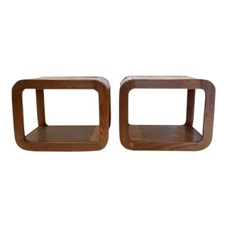 Bent Wood Waterfall Cube Side Tables - A Pair