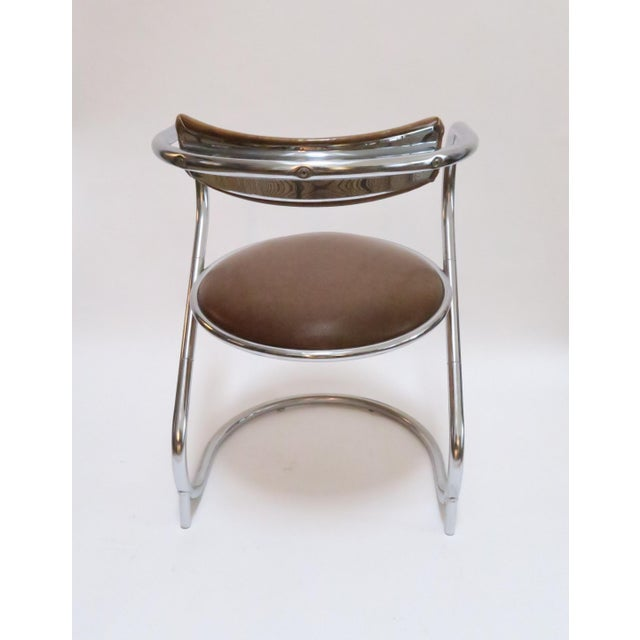 Image of Chrome Deco Faux Leather Accent Chair