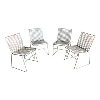 Mid Century Panton Style Chrome Chairs Dining - Set of 4