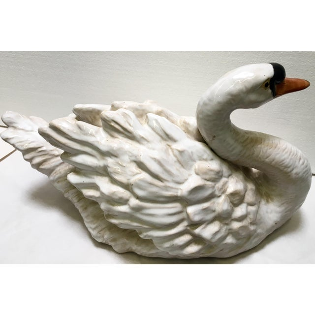 Image of Glazed Ceramic Swans - A Pair