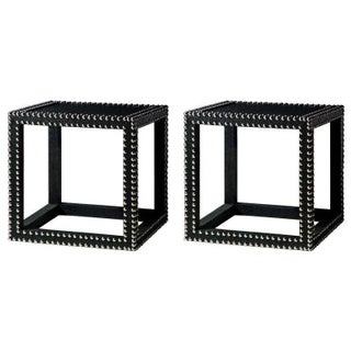 Studded Black Marco Low Tables - A Pair