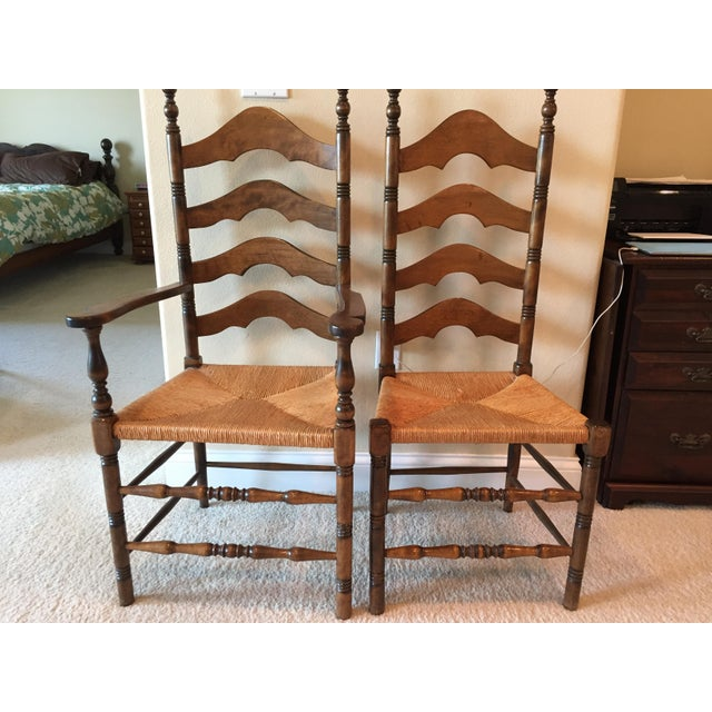 French Country Ladder Back Dining Chairs Set Of 4 Chairish