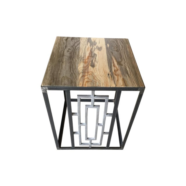 Mid-Century Steel and Old Growth Wood Tables - 2 - Image 1 of 4