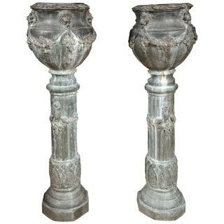 Zinc Column Planters - A Pair