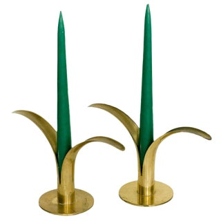 Mid-Century Modern Ystad Brass Candle Holders