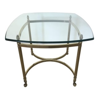 Vintage Brass & Glass Square Side Table