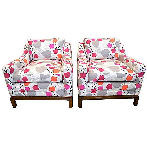 Colorful Floral Club Chairs - A Pair - Image 1 of 6