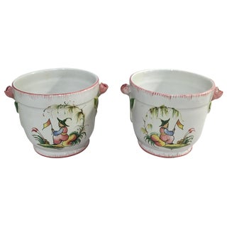 Vintage Italian Chinoiserie Cachepots - Pair