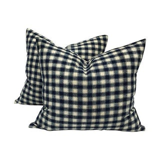 Vintage French Blue & White Plaid Pillows - A Pair