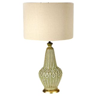 1960s Green & White Incised Table Lamp
