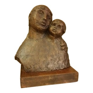 1968 Signed Bronze Mother & Child Sculpture