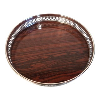 Vintage Sheffield Silverplate and Wood Formica Gallery Bar Tray