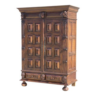 Louis XIII-Style Mahogany Armoire
