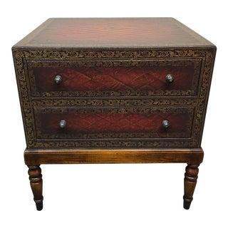 Custom Leather Embossed Side Table