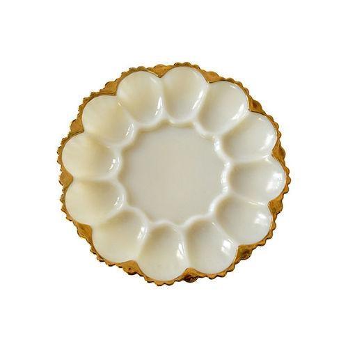 Image of Vintage Ivory Milkglass Egg Platter