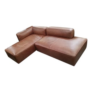 Brown Leather Modular Sectional Sofa